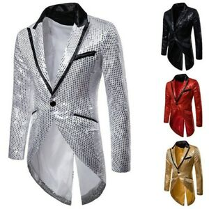 Mens Sequin Tailcoat Suit Jacket Tuxedo Troupe Showman Costume Ringmaster