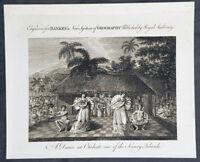 1787 Bankes Antique Print of Tahitian Dancing Girls - Capt Cooks 3rd Voyage 1777