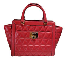 $498 NWT MICHAEL KORS VIVIANNE CHERRY RED LARGE QUILTED ZIP LEATHER SATCHEL BAG
