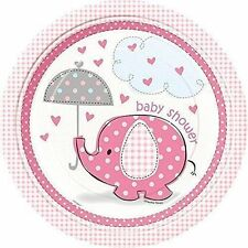 8 Umbrellaphants Pink Paper Plates 23cm Baby Shower Girl Party Tableware