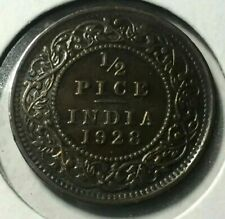 AU 1928 British India 1/2 Half Pice Coin King George V World Historical Coin