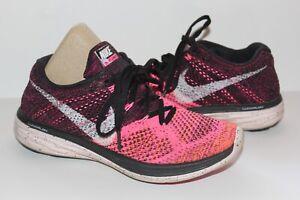 "Womens Nike Flyknit Lunar 3 Size 6.5"" Knit Running Workout Pink Black w/ Swoosh"