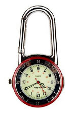 Shiny Silver Clip On Carabiner Red & silver Bezel Luminous Face Doctor FOB Watch