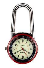 Clip Mosquetón De Plata Brillante Rojo y Negro Reloj Bisel Luminoso cara médicos FOB