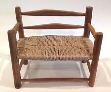 Small Wood And Straw Bench ~ Doll Bear Dollhouse?