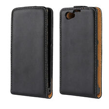 Black Genuine Leather Slim Flip Case Cover For Sony Xperia Z1 Compact