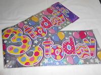 3 GIANT FOIL HAPPY 3RD BIRTHDAY BANNER / SASH WALL BANNER / PARTY DECORATION G3
