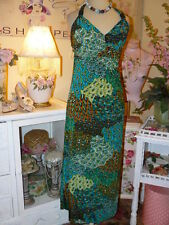 GODDESS Chic EMERALD PEACOCK Patchwork PAISLEY Flowing MAXI HALTER SUN DRESS L