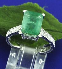 14k Solid White Gold Natural Diamond & Emerald cut Emerald Ring 3.15 ct size 5-8