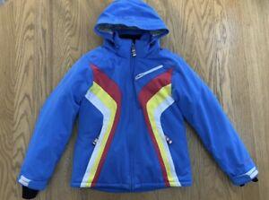 Obermeyer Blue Retro Stripe Ski Jacket Youth 16 Womens xs