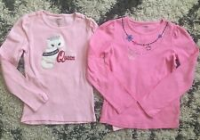 GYMBOREE Lot of 2 Girls Tops sz 10 Pink Long Sleeve Shirts Purrfect Cat