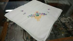 """Vintage Hand Embroidered Tablecloth, 35"""" X 32"""""""