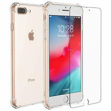 Clear Shockproof Bumper Back Case for Apple iPhone 7 / 8 Plus & Tempered Glass
