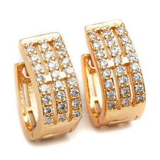 Fashion Jewelry Earrings 24K Gold Filled Clear C.Z Stone Women's Hoop Earrings