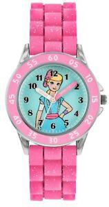 Disney Toy Story Quartz Pink Rubber Strap Time Teacher Girls Watch TYM9001
