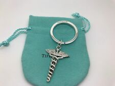 Tiffany & Co Sterling Silver Caduceus Medical Symbol Key Ring Key Chain