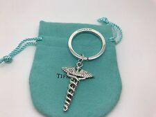 Tiffany & Co Sterling Silver Caduceus Medical Symbol Key Ring Key Chain