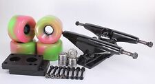 65mm 78a Pink and Green Longboard Wheels and Black Trucks Combo Set
