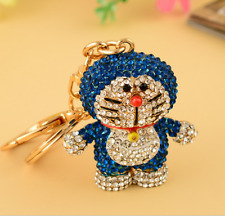 Fashion Blue Crystal Doraemon Gold Key Chains Keychain Keyfob Keyring Gift NEW #