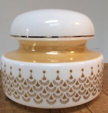 """PRELOVED 1960-70s WHITE / GOLD GLASS CEILING SHADE  10 1/2"""" W X 9"""" TALL"""