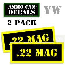 22 MAG Ammo Can Box Decal Sticker bullet ARMY Gun safety Hunting 2 pack YW