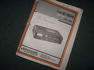 Marantz Superscope C-204 Cassette Recorder Service Manual 34-pg Fair Condition