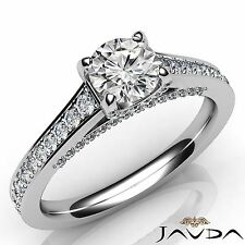 Natural Round Diamond Engagement Pave Set Ring GIA E VVS2 14k White Gold 1.25ct