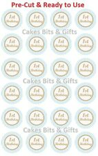24x 1st Birthday Blue & Gold Edible Wafer Cupcake Toppers PRE-CUT Ready to Use