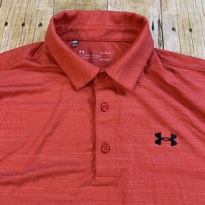 Under Armour Heat Gear Loose Large Red Heather Striped Polo Golf Shirt