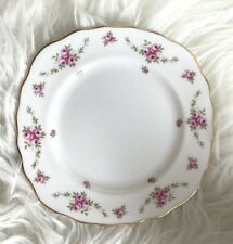 Royal Osborne Pink Floral Side Plate Rose Pattern Fine Bone China Scalloped Vtg