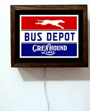 Greyhound Bus Line Driver Station Travel USA Retro Vintage Light Lighted Sign