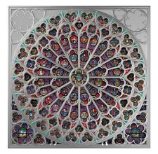 Rose Window of Notre Dame in Paris.Glass Windows Collection Silver Coin SB 2019