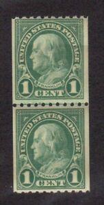 Scott #  604  beautiful pair of Benjamin Franklin's never hinged
