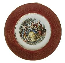 """Vtg Imperial Salem China Victorian couple dancing  red 23K Gold 11"""" Plate Signed"""