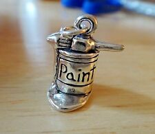 Sterling Silver 3D 18x15mm Heavy 5 gram Paint Can & Brush Charm