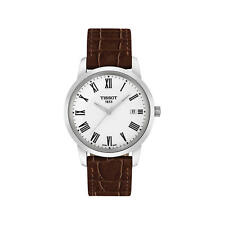 T0334101601301 Tissot Classic Dream Brown Strap Men's Watch white roman leather
