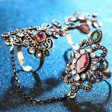 Ruby Jewelry Party Hollow Vintage Flower Rings Adjustable Two Finger
