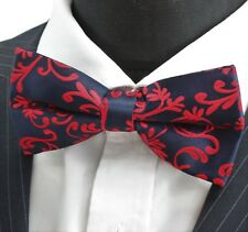 Bow Tie. Dark Blue with Red Vine. Premium Quality. Pre-Tied. PN03