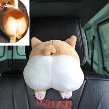 Cute Corgi Bottom Car Pillow Cartoon Neck Headrest Short Plush Travel Cushion 1x