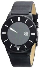 Kenneth Cole Men's Digital KC1687  Black Leather Strap Black  Dial Watch