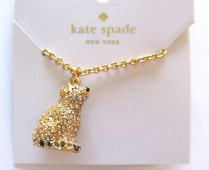 kale spade cold comforts mini necklace- polar bear pendant -crystals -gold tone