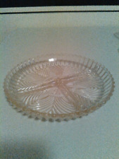 """Divided Glass Dish, 3 section, small 7"""""""