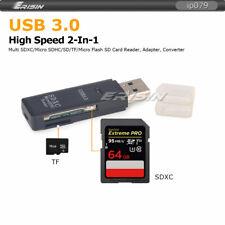 2 en 1 USB 3.0 lector de tarjetas de memoria Convertidor TF SD/Micro SD/SDHC/SDXC de hasta 128GB