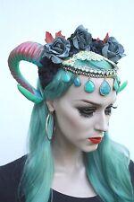 Deluxe Pastel Pink Green Ram Horn Grey Head Chain Flower Festival Crown Headband