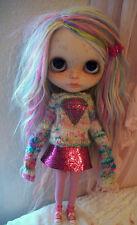 RARE 2PC Polly Gem Set For Blythe Dolls - HTF Designer - Rainbow Glitter Set