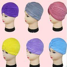 Pleated Indian Cap Lady Stretch Turban Head Bandana Hijab Band Chemo Wrap Hat