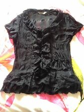 SOUTH Sheer Black Lace Short Sleeve Top - BNWOT - Size 10