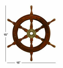 "Nautical wooden ship steering 15"" wheel pirate wooden finish wall decor wheel"