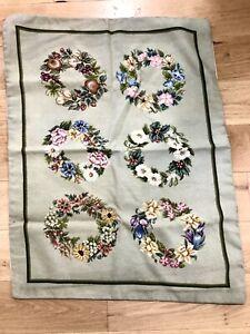 Needlepoint Rug Seasonal Wreaths 30 Years Old