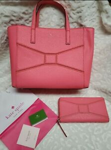 Kate Spade Summer Coral Bow Tote And Wallet